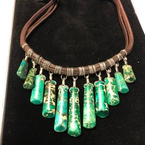 Jewelry - Handcrafted Malachite & Silver Wire on Leather